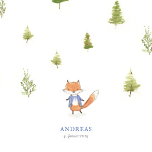 Geburtskarte Fuchs aquarell quadratisch blau
