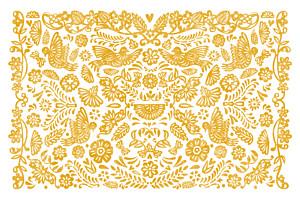 Grußkarten Papel picado gelb