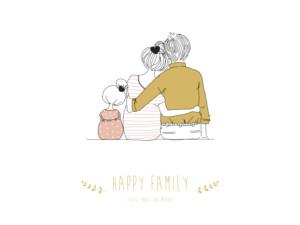 Poster klein Lovely family rosa