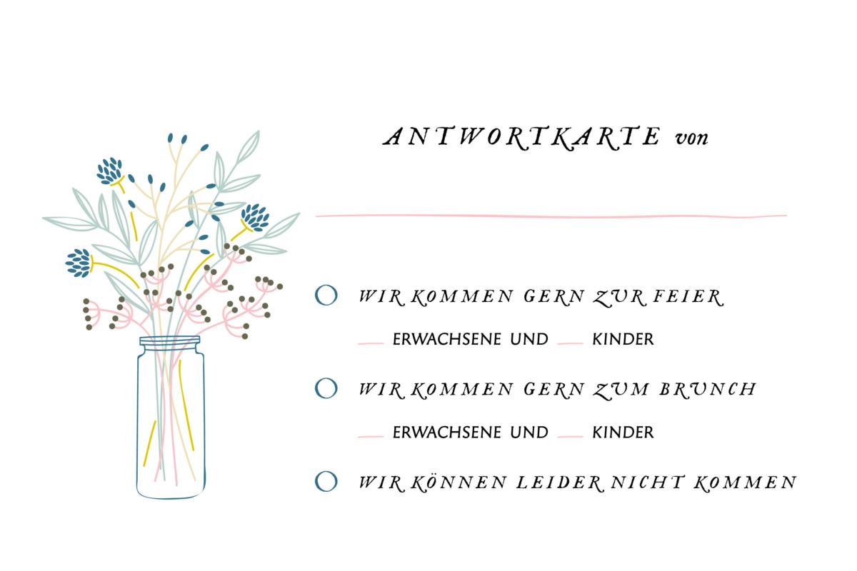 Antwortkarte hochzeit bl tenzauber atelier rosemood - Hochzeitseinladung text modern ...