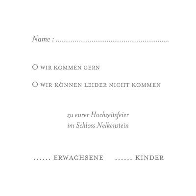 Antwortkarte Hochzeit Klassisch (quadratisch) weiß finition