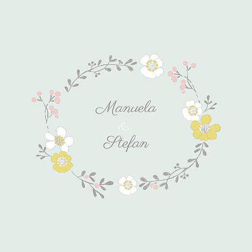 Hochzeitseinladung Frühlingsblumen beidseitig grün