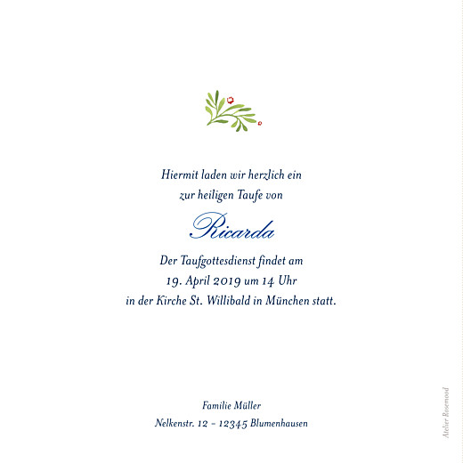 Taufeinladung Waldgeflüster grün - Seite 2