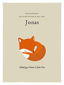 Poster groß Fuchs beige & orange