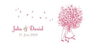 Anhänger Hochzeit Blumenstrauß rot