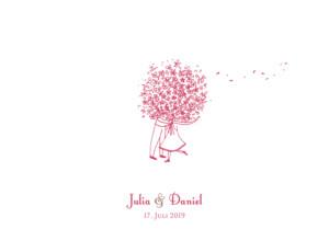 Hochzeitseinladung Blumenstrauß rot