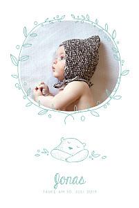 Taufeinladung Bär foto grün