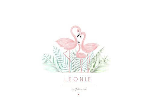 Geburtskarten Flamingo lang weiß