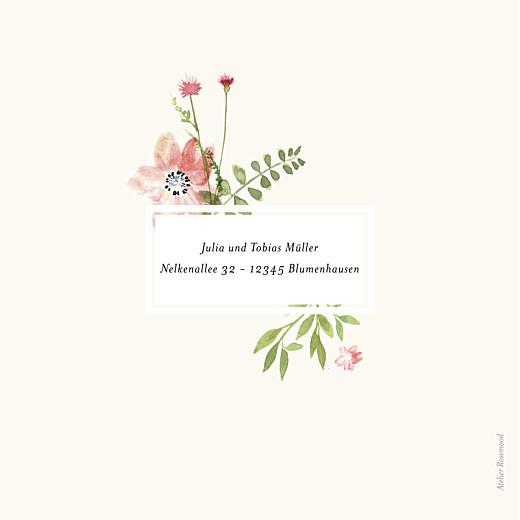 Geburtskarte Blumen aquarell beige