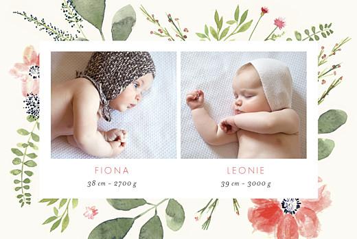 Geburtskarten Blumen aquarell zwillinge beige