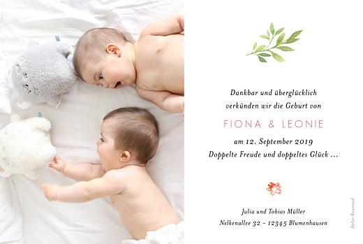 Geburtskarte Blumen aquarell zwillinge beige