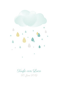 Taufeinladung Bunter regen blau