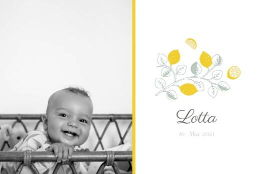 Geburtskarte Zitronen gelb