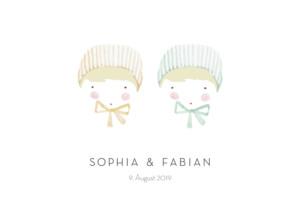 Geburtskarte Rotbäckchen zwillinge blond