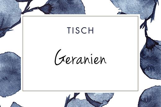 Tischkarten Hochzeit Blütenblätter blau