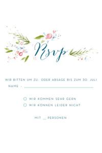 Antwortkarte Hochzeit Frühlingshauch weiß