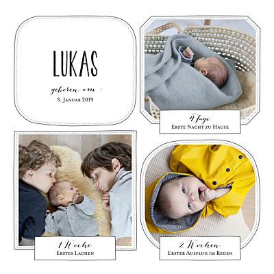 Geburtskarte Großes abenteuer 3 fotos weiß finition
