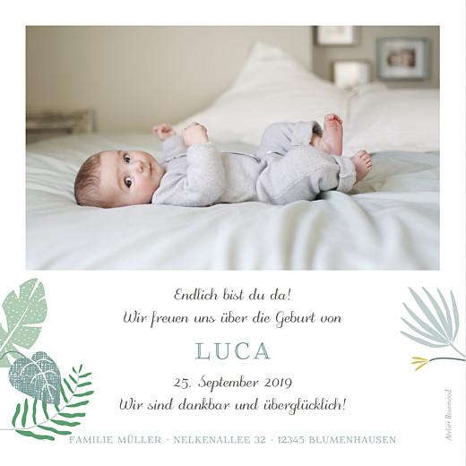 Geburtskarte Tropischer garten grün