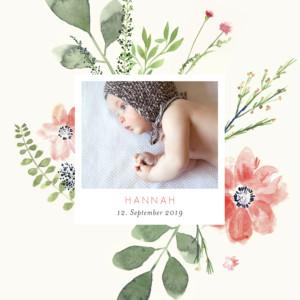 Geburtskarte Blumen aquarell beidseitig beige
