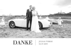 Dankeskarten Hochzeit Stilvoll bandeau weiß