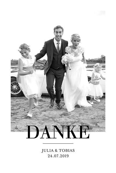 Dankeskarten Hochzeit Stilvoll modern portrait weiß finition