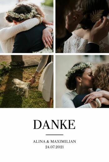 Dankeskarten Hochzeit Stilvoll modern 4 fotos weiß