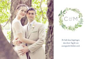 Dankeskarten Hochzeit Waldgeflüster lang grün