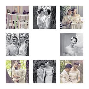 Dankeskarten Hochzeit Erinnerung 8 fotos (gold) weiß