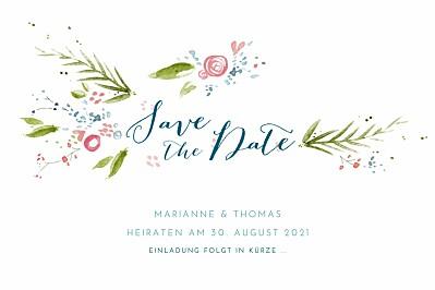 Save-the-Date Karten Frühlingshauch weiß finition