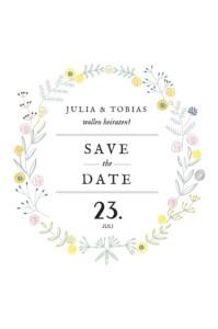 Save-the-Date Karte Blütenzauber weiss
