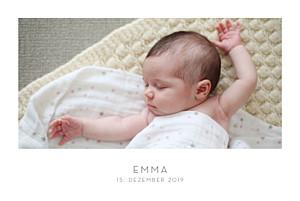 Geburtskarten grau elegant 1 foto querformat