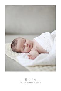 Geburtskarten grau elegant 1 foto hochformat