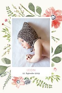 Geburtskarten mädchen blumen aquarell 2 fotos beige