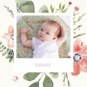 Mini Dankeskarten Blumen aquarell danke beige