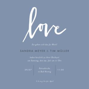 Hochzeitseinladungen Liebesbotschaft blau