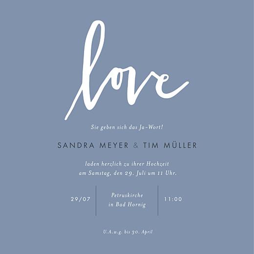 Hochzeitseinladung Liebesbotschaft blau