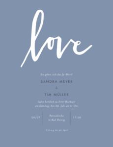 Hochzeitseinladung Liebesbotschaft portrait blau