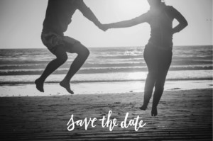 Save-the-Date Karte Liebesbotschaft blau