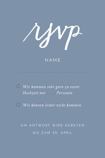 Antwortkarte Hochzeit Liebesbotschaft blau