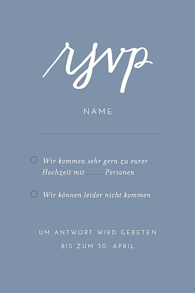 Antwortkarte Hochzeit Liebesbotschaft blau finition