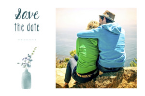 Save-the-Date Karte Wildblumen rosa