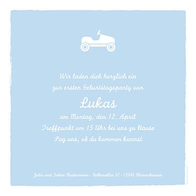 Geburtstagskarten Kinder Auto foto zartblau finition