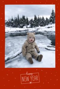 Weihnachtskarten Winterkonfetti rot