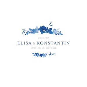 Hochzeitseinladung Englischer garten blau