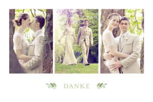 Dankeskarten Hochzeit Englischer garten grün