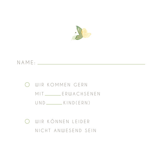Antwortkarte Hochzeit Englischer garten grün
