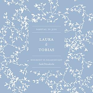 Hochzeitseinladungen blau zarte poesie blau