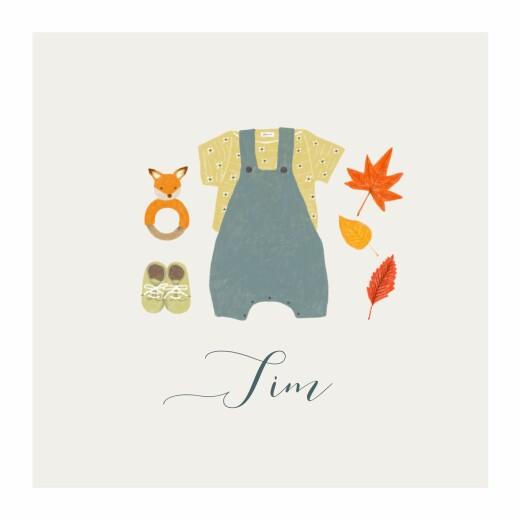 Geburtskarten Herbstoutfit grau