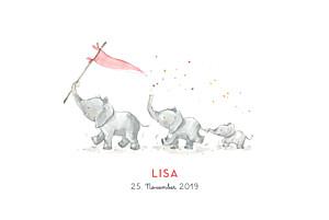 Geburtskarten rot 3 elefanten rosa