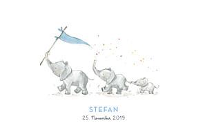 Geburtskarten blau 3 elefanten blau
